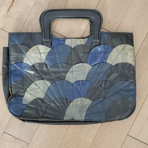 Vintage blue leather handbag